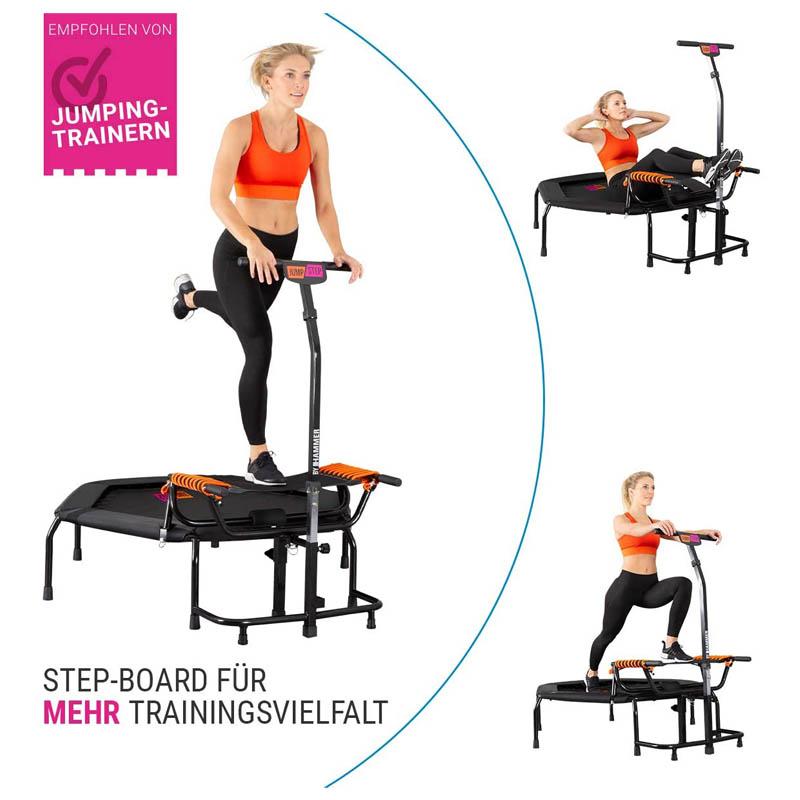 Abnehmen Mit Trampolin : indoor fitness trampolin mit stepper jumpstep verstellbarer griff glenkschonend ~ Watch28wear.com Haus und Dekorationen